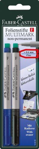 Faber-Castell 159599 - Marker MULTIMARK non-permanent, Stärke: S, 2er Packung, blau und schwarz