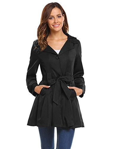 Woman Single Breasted Classic Coat (Bifast Women Casual Long Sleeve Lightweight Trench Coat with belt Black XL)