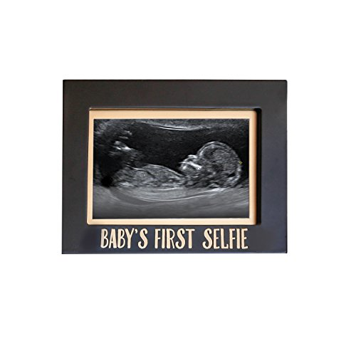 Pearhead Baby's First Selfie Keepsake Sonogram Photo Frame, Black/Gold