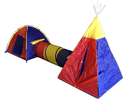 (Childrens Play Tent Set - 2 Rooms Tunnel Fun Playhouse Teepee)