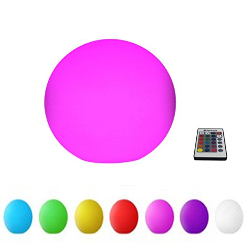 Glovion Outdoor/indoor Waterproof Rechargeable LED Ball Light Mood Lamp - Cordless -RGB Colorful Changing Remote Control -10''Inch by Glovion