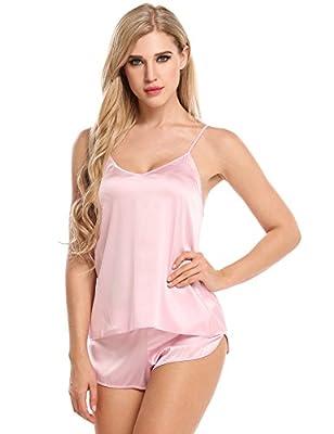 Ekouaer Sleepwear Womens Sexy Lingerie Satin Pajamas Cami Shorts Set Nightwear XS-XXL (Pink, XS)
