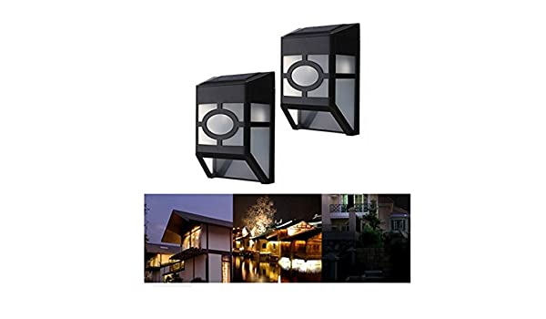 shina solar powered wall mount 2 led lights lamp outdoor landscape garden yard fence warm white amazoncom