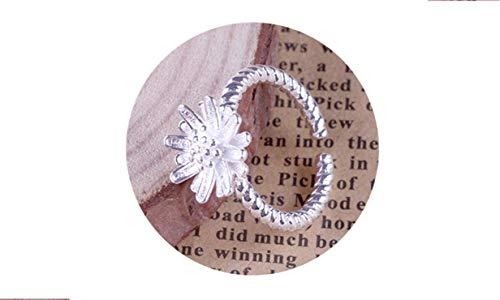 GoFly Rings Silver Plated Ring for Women Daisy Flower Wedding Ring Chrysanthemum Engagement Jewelry Adjus