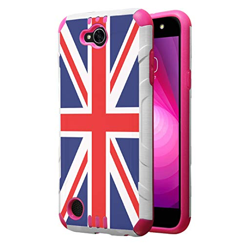 (Capsule Case Compatible with LG Fiesta 2 (L163BL), LG X Power 2 (M320), LG X Charge (M322), Fiesta LTE, K10 Power, LS7 4G LTE [Dual Layer Slim Armor Case White Pink] - (Union Jack Flag))