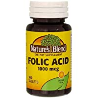 Nature's Blend Folic Acid 1000 mcg 100 Tablets