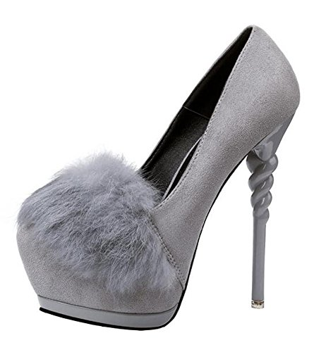 CHFSO Womens Sexy Stiletto Solid Suede Faux Fur Low Top Round Toe High Heel Platform Pumps Shoes Gray QXlpO9D