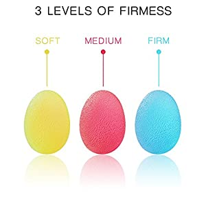 Hand Stress Balls Set with Carry Bag- 3 Resistance, Finger Wrist Arthritis Therapy Exercise Ball, Squeeze Ball Hand Exerciser Helps to Strengthen Grip