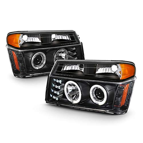 Fits 2004-2012 Chevy Colorado GMC Canyon LED Dual Halo Projector Black Headlights+ Bumper Parking Signal Lamps Pair - Signal Light Parking Colorado