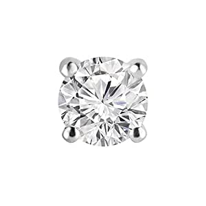 1/4 CT en solitario estilo pendiente para el clavo único de diamante en 14 K blanco con tornillo diseño de (solo clavo único)