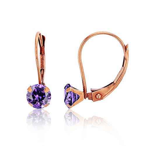 14K Rose Gold 6mm Round Amethyst Martini Leverback (Each Round Leverback Earrings)
