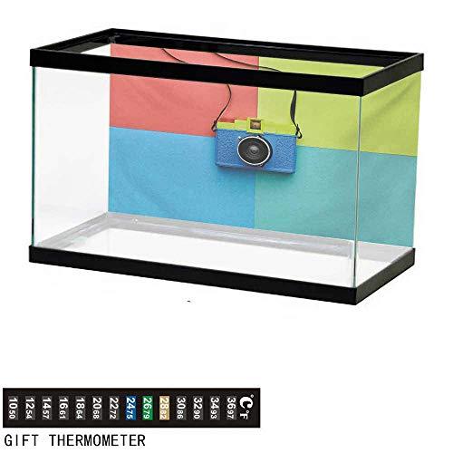 wwwhsl Aquarium Background,Pastel,Retro Style Fashion Film Camera on Colorful Backdrop Hipster Pop Urban Accessories,Multicolor Fish Tank Backdrop 24