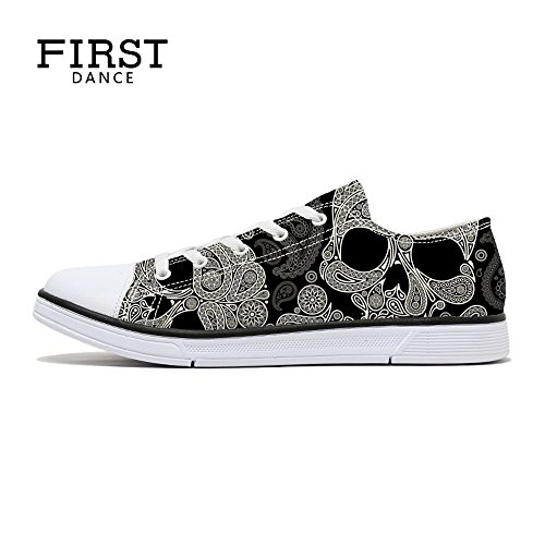 FIRST DANCE Women/Men Skull Printed Shoes Paisley Printed Casual Sneakers Girls Student Canvas Shoes for Ladies Cute 7.5US -
