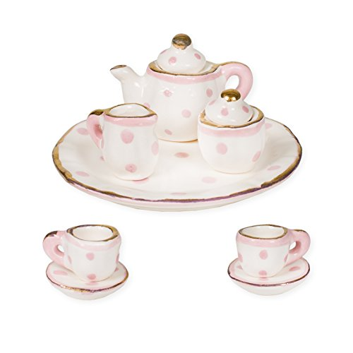 Pink and White Polka Dot Design Porcelain Children's 10 pc. Tiny Tea Party Set by Sea Island