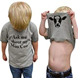 GObabyGO Summer Ask me About My moo Cow, Toddler Kids Baby Boys T-Shirt Short Sleeve Tops Tees (Gray, 3-4T(110))