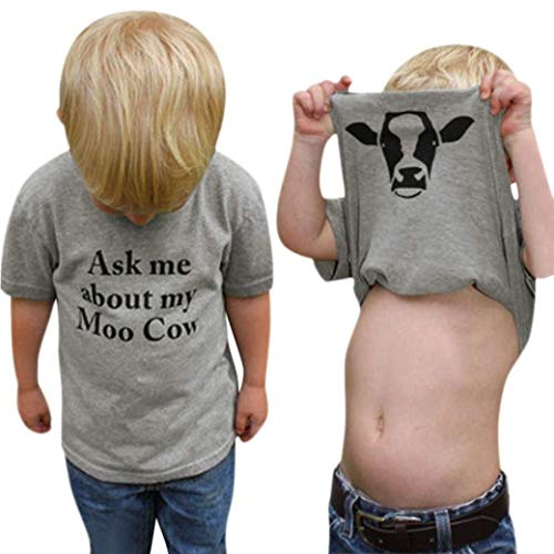 GObabyGO Summer Ask me About My moo Cow, Toddler Kids Baby Boys T-Shirt Short Sleeve Tops Tees (Gray, 18-24Months(90))