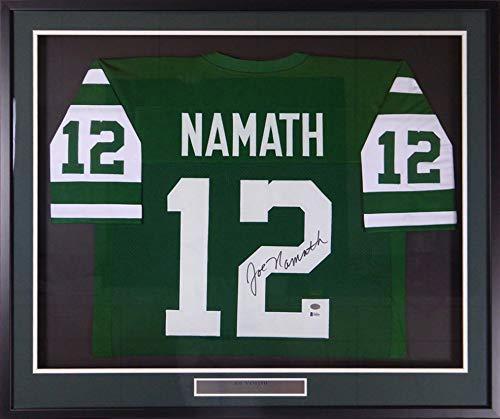 New York Jets Joe Namath Autographed Framed Green Jersey Beckett BAS Stock #123652