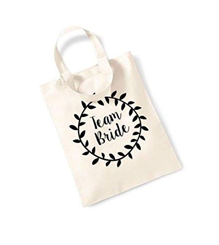 Team Bride - Laurel - Small Canvas Fun Slogan Tote Bag Natural/Black