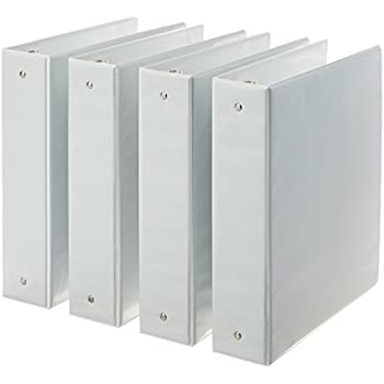 Amazon AmazonBasics 3 Ring Binder 2 Inch 4 Pack White