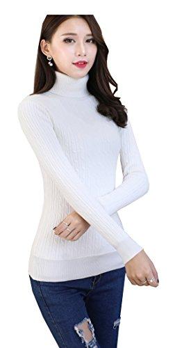 GOLDSTITCH Women's Warm Comfy Long Sleeve Basic Stretch Mock Turtleneck Top Sweater,Medium(USA),Cream-pullover