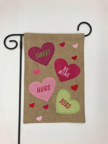 Sweet Valentine Hearts Love Burlap Outdoor Garden Mini Yard Decoration Flag 12