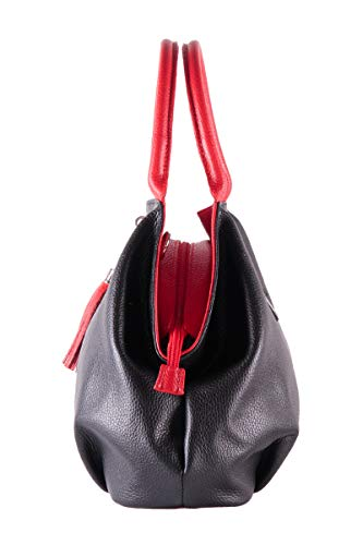 Italy Leather Handbag Genuine In red 100 Giada Woman's Borderline Black Made Hqx4wt00R