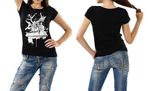 Turnen_VI schwarzes modernes Damen / Frauen T-Shirt mit stylischen Aufdruck