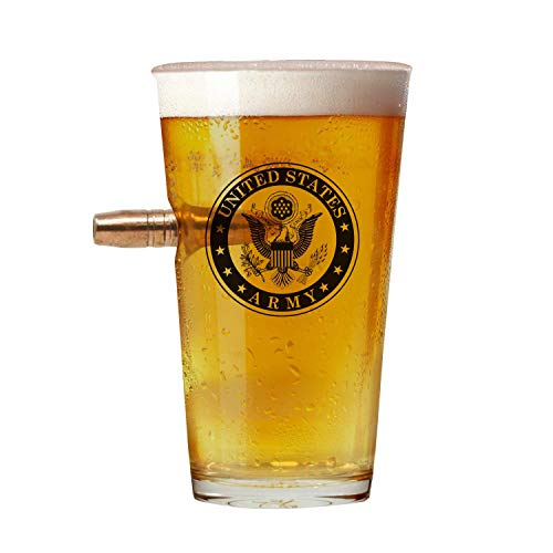 Gifts Blown Glass - Officially Licensed Army Pint Glass - Hand Blown Glasses - Real 50 Cal Design - Army Gifts - 16 Oz.