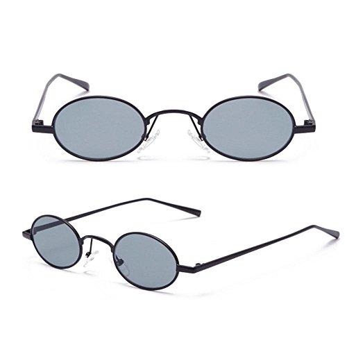 estilo mujeres Grey lentes sol bolsa sol Aolvo gafas para With de Gafas para Tiny ovaladas vintage metal de niños retro niñas With Grey hombres adolescentes con tintadas montura Black Frame multicolor unisex de CCqaO0w