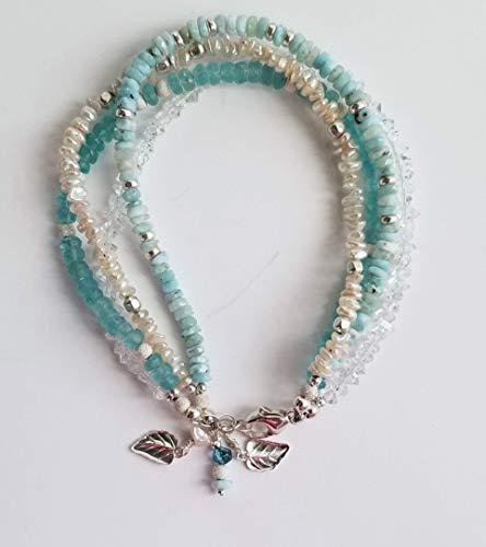 Pastel Faceted Larimar, Pearls, Herkimar Diamonds Multi Strand Beaded Bracelet