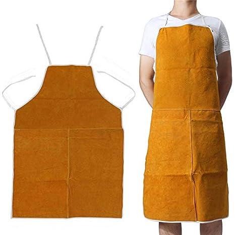 Delantal de soldadura de cuero Maso, talla única, color amarillo, resistente al calor