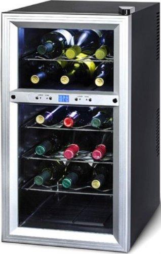 Black Electric Refrigerator (Kalorik Thermoelectric Dual-Zone 18-Bottle Ventilated Wine Cooler, Stainless Steel/Black)