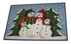 Muñeco de nieve familia con árboles de Navidad 17pulgadas x 27pulgadas Accent alfombra mat