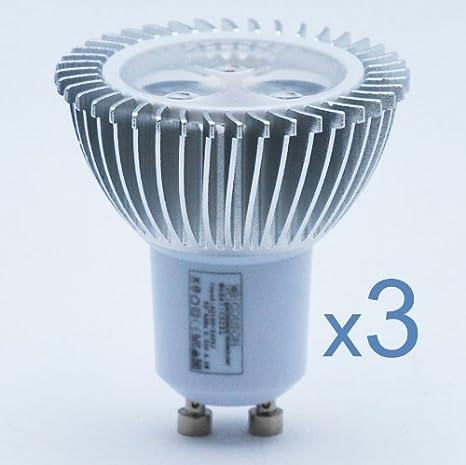 3 x Bombilla LED GU10 3W Foco Luz Blanco Cálido AC 100V-240V: Amazon.es: Iluminación