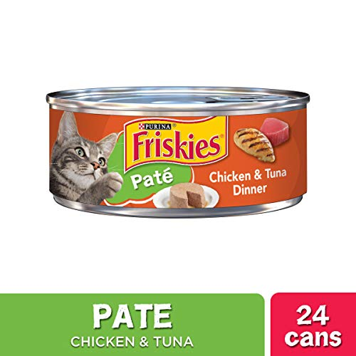 Purina Friskies Pate Wet Cat Food, Chicken & Tuna Dinner - (24) 5.5 oz. Cans