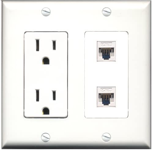 RiteAV 15 Amp Power Outlet 2 Port Cat5e Ethernet White Decorative Type Wall Plate White