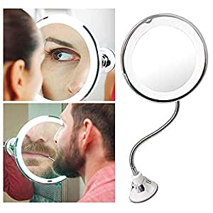 360 Rotation Flexible Gooseneck 10x Magnifying LED Lighted Bathroom Makeup Shaving Mirror Adjustable Bendable Gooseneck