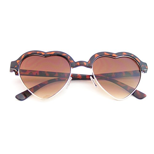 Cute Vintage Half Frame Inspired Heart Shape Sunglasses - Face Heart Men Sunglasses For Shaped