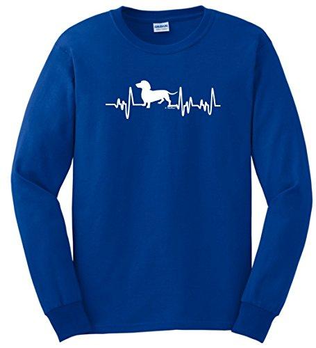 Dachshund Shirt Dachshund T-Shirt Dachshund Gifts Dog Lover Heartbeat Weiner Dog Long Sleeve T-Shirt Large Royal ()