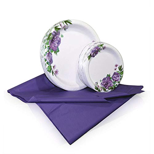 Tiger Chef Purple Peony Disposable Plate Paper Dinnerware Set for 48 Guest, Includes 48 10-inch and 7-in Paper Plates and 1 Plastic Tablecloth 54x108-in, Party Pack Tableware, Wedding, Birthdays (Floral Purple Dinnerware)