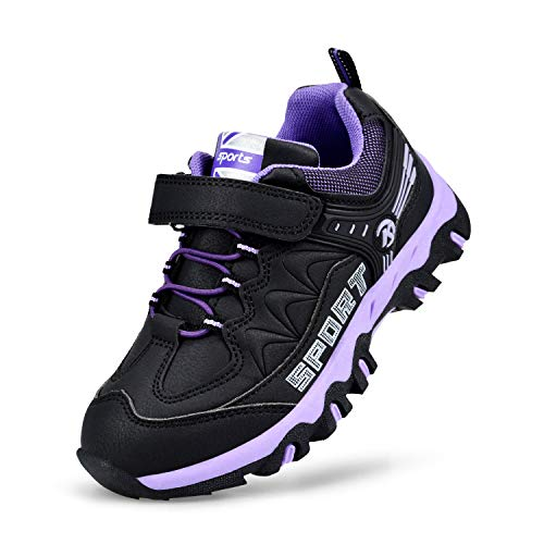 Kostiko Sneakers for Girls Hiking Waterproof Running Shoes Athletic Slip on Walking Traveling Tennis Kids Shoes Black Purple 1 M US Little Kid
