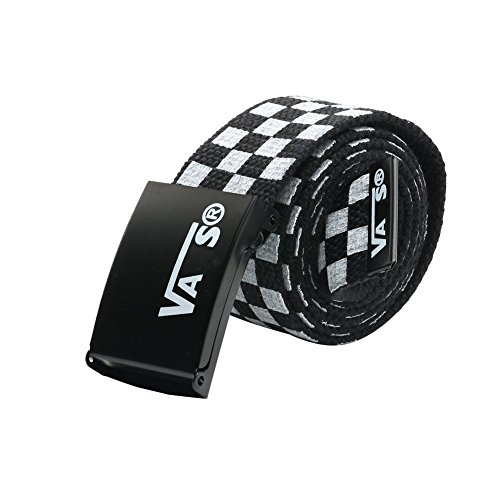 Black Checkered Belt (Sitong Unisex casual checkered canvas)