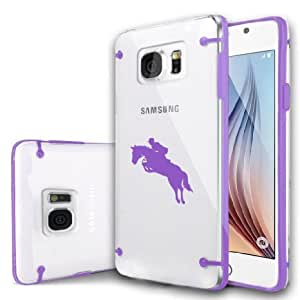 Samsung Galaxy S6 Edge Ultra Thin Transparent Clear Hard TPU Case Cover Jockey Horse with Rider (Purple)