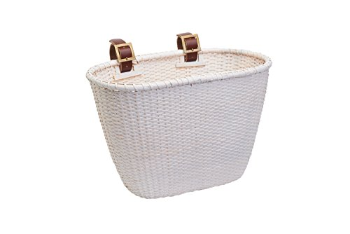 Oval Dreamcatcher Basket with Authentic Leather Straps & Brass Buckles, White (Nantucket Basket Brass Basket)