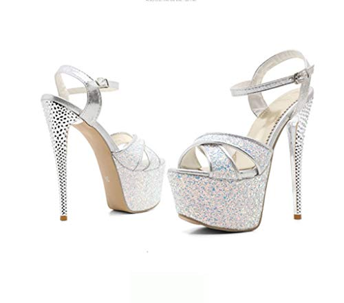 Plataforma Zapatos Altos Dedo Sandalias Aguja Prueba Pie 15 Tacones Agua Suela Abiertas Mujer 5 5 5 Del Tacón Goma A De Sexy Súper Lentejuelas Blanco Mujer Anudados OPWUanO
