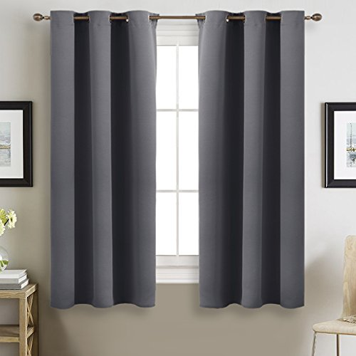 Grey Blackout Curtains for Bedroom - NICETOWN Thermal Insulated Grommet Blackout Panel Curtains (2 Panels, W42 x L63 (Modern Curtain Panels)
