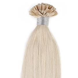 Beauty7 18″ 20″ 22″ 24″ Pre Bonded Nai U Tip Real Remy Human Hair Extensions 100g #60 Platinum Blonde