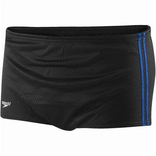 Speedo 705970 Boys Poly Mesh Square Leg Training Suit (Youth), Black/Blue, - Drag Swimming For Suit