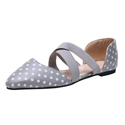 Baiggooswt Womens Ballet Flats Elastic Ankle Strap Shoes Slip On Polka Dot Leopard Stripes Loafers Light Blue ()