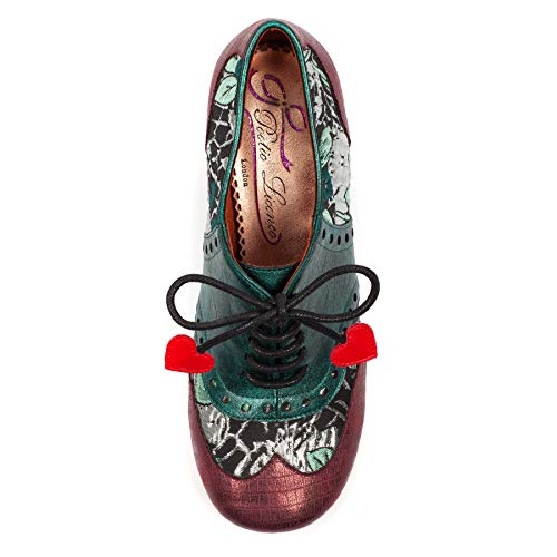 Zapatos Multicolor Clara para Red Cordones L Irregular by Licence Bow Mujer Brogue Choice de Poetic IYxwp7w